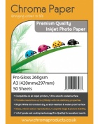 Chroma - Professional Grade A3 260gsm Gloss Inkjet Photo Paper - (25 Pack)