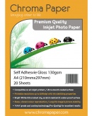 Chroma Premium A4 130gsm Self-Adhesive High Gloss Photo Paper (25 Pack)