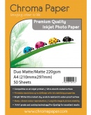 Chroma A4 220g Double Sided Matte/Matte Inkjet Photo Paper (50 Pack)
