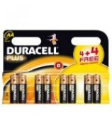 DURACELL PLUS(4 + 4 FREE) LR6 (AA) Batteries 1.5v (8 PACK)