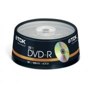TDK DVD-R Branded 16x - 25 Spindle Pack