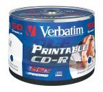 Verbatim CD-R Wide White Full Face Inkjet Printable (No ID)