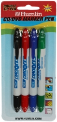 HUMLIN CD/DVD TWIN TIP MARKER PEN 4 PACK