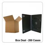 200 x Single Black 14mm Spine Standard DVD Cases - Box Deal