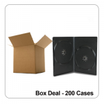 200 x Double Black 14mm Spine Standard DVD Cases - Box Deal
