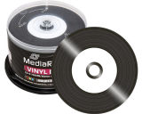 MediaRange Vinyl Blank CD R Black Dye White Inkjet Printable - 50 Spindle