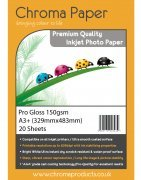 Chroma Paper - Professional Grade A3+ (A3 Plus) 150gsm Gloss Inkjet Photo Paper - 20 Sheets