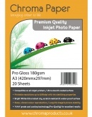 Chroma Paper - Professional Grade A3 180gsm Gloss Inkjet Photo Paper - 20 Sheets