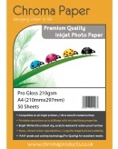 Chroma A4 210gsm Pro Gloss Inkjet Photo Paper (50 Pack)