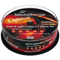 MediaRange DVD-R 16x Lightscribe Printable 5 Colours - 25 Pack