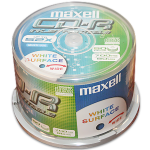Maxell CD-R 52x Full Face White Inkjet Printable (50 Tub)