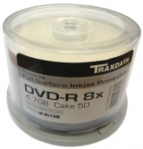Traxdata Ritek PRO-Series DVD-R 8x White Full Inkjet Printable - 50 Spindle Tub