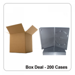 200 x Single Black Slim 7mm Spine Standard DVD Cases - Box Deal