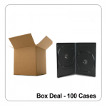 100 x Standard Grade 14mm Black Double DVD Case - Box Deal