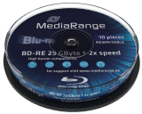 MediaRange Blu-ray Blank BD RE 25GB Discs 2x Speed Rewritable - 10 Tub