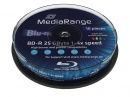 MediaRange Blu-ray Blank BD-R DL 25GB 6x Speed White Inkjet Printable - 10 Tub