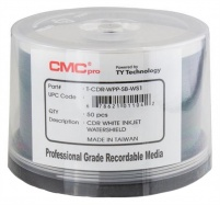 CMC Pro / Taiyo Yuden Watershield CD-R 48x White Inkjet Printable - 50 Tub