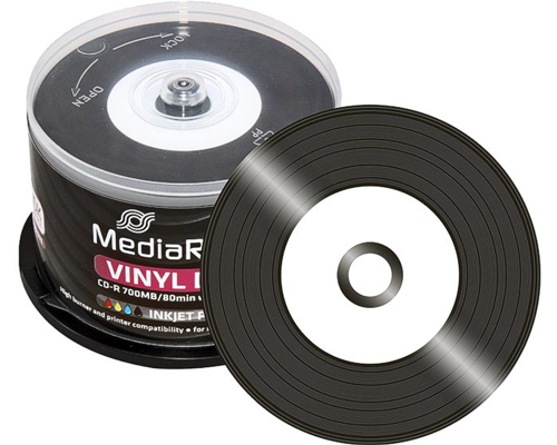 photo regarding Printable Blank Cds called MediaRange Vinyl Blank CD R Black Dye White Inkjet Printable - 50 Spindle