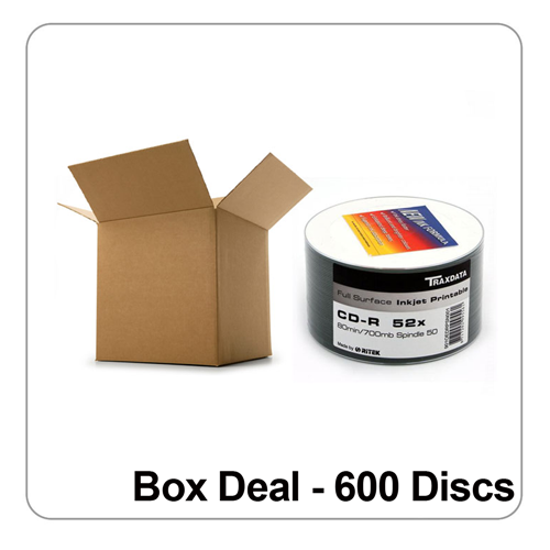 image about Printable Cds titled Ritek/ Traxdata White Comprehensive Experience Inkjet Printable CD-R 52x - Box Offer of 600 Discs