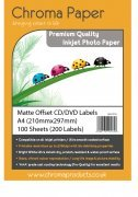 Chroma- MATTE Offset CD/DVD Inkjet Labels (200 Pack)