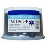 Ritek Premium Quality Inkjet White Medical Grade 16x DVD-R Disc 50 Spindle