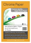 Chroma Premium A4 120gsm Self-Adhesive Matte Photo Paper (25 Pack)