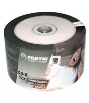 Fortis White Full Face Inkjet Printable 52x Blank CD-R - 50 Stack