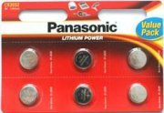 Panasonic CR2032 3V Lithium coin batteries - 6 Pack
